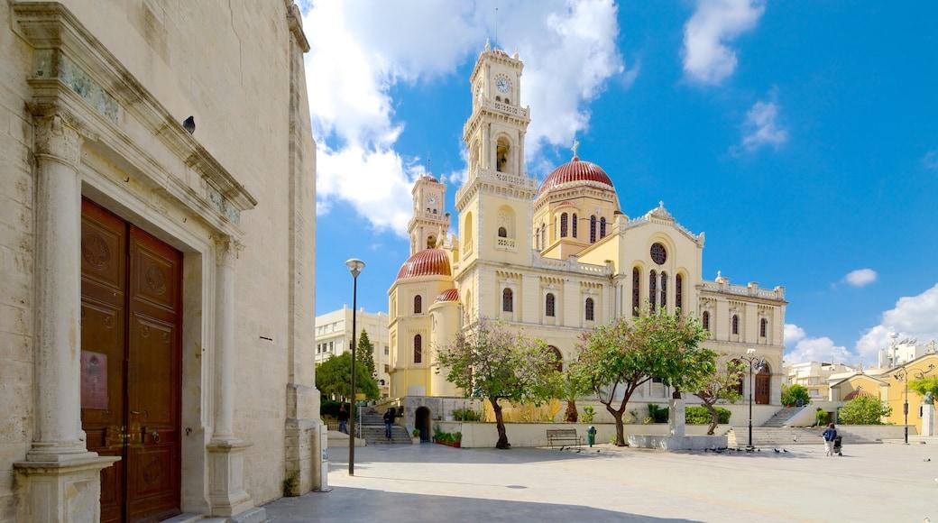 Agios Minas-kathedraal bevat religieuze elementen, historische architectuur en een kerk of kathedraal