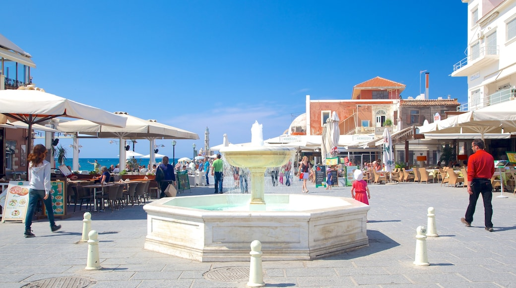 Chania showing a square or plaza and a fountain