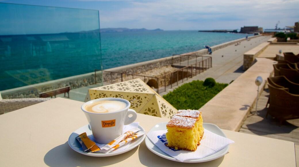 Heraklion featuring general coastal views, food and drinks or beverages