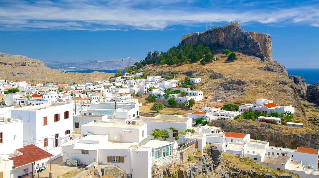 Acropolis of Lindos featuring a small town or village