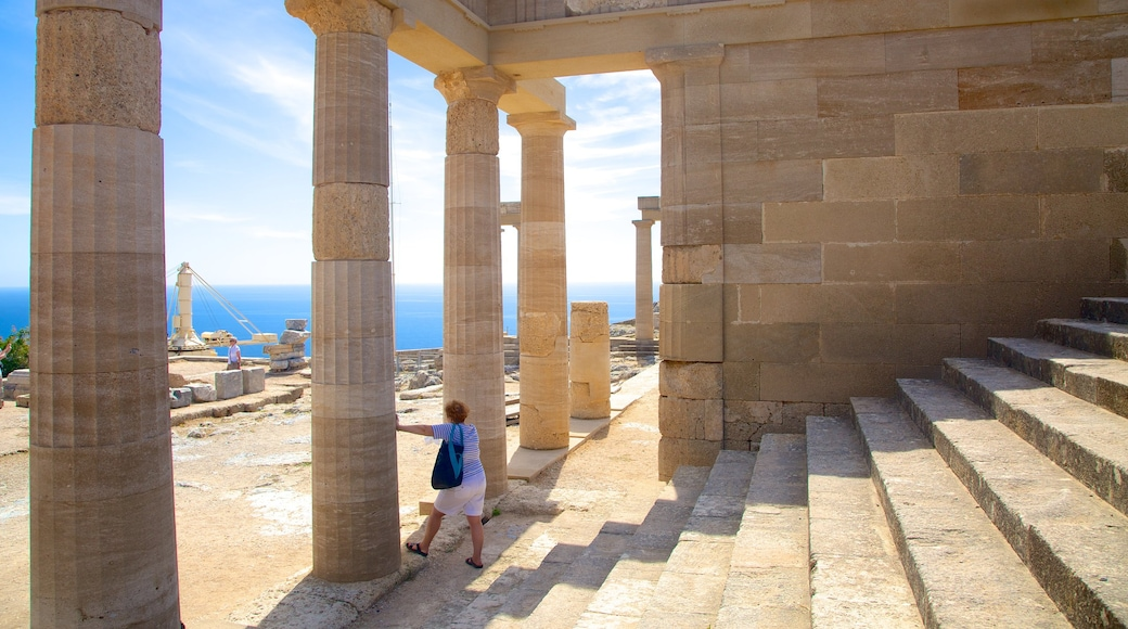 Acropolis of Lindos featuring heritage architecture and building ruins