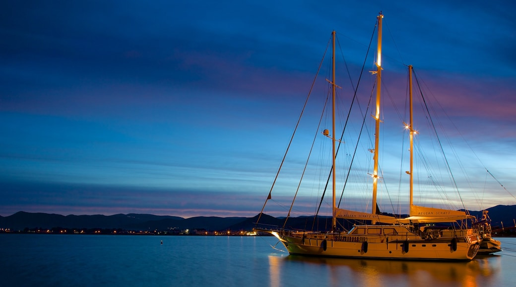 Nafplio which includes night scenes and a bay or harbour