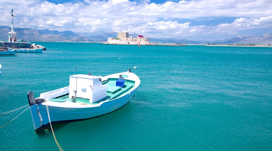 Nafplio which includes a bay or harbour