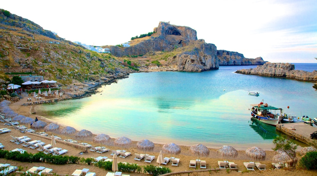 Lindos which includes a bay or harbour
