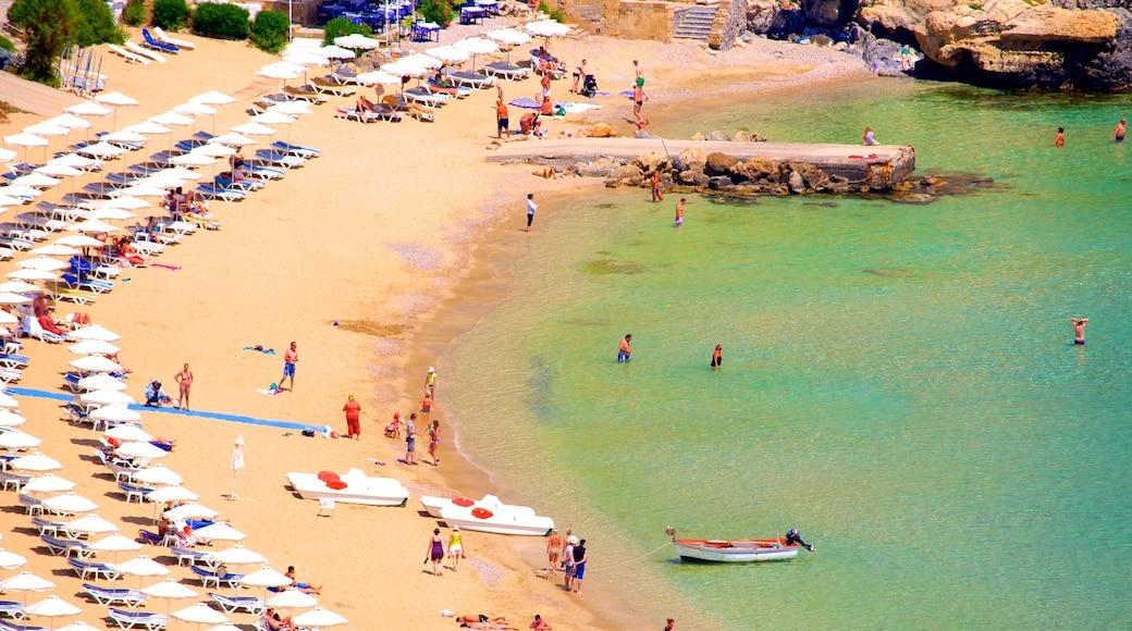 Plage de Lindos montrant plage