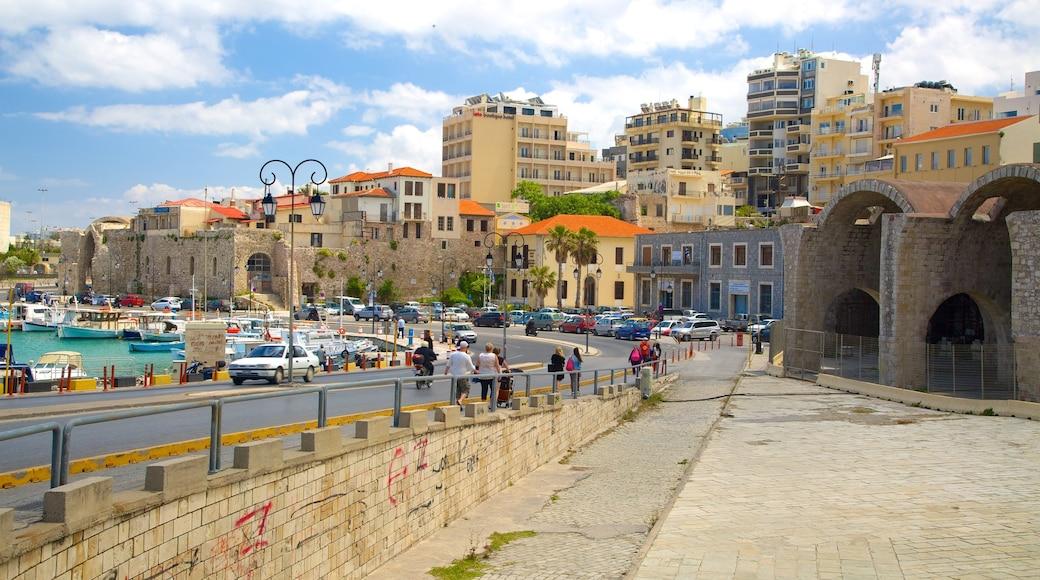 Heraklion Port which includes street scenes