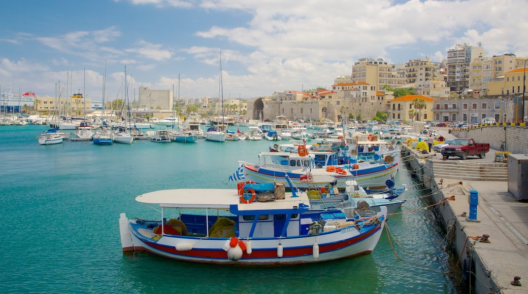 Heraklion Port showing a marina