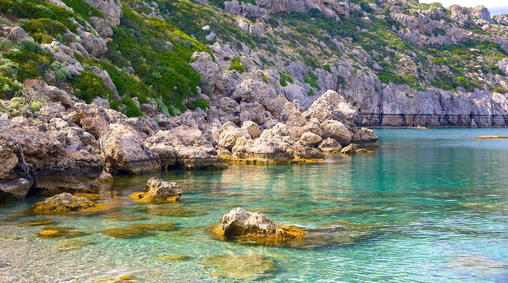 Anthony Quinn Bay featuring rugged coastline