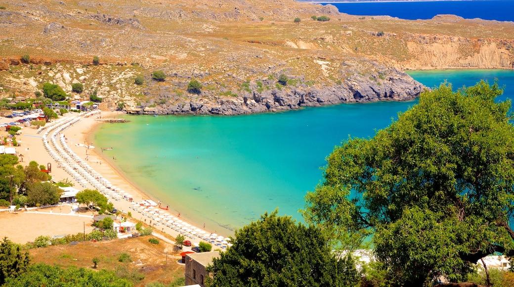 Plage de Lindos qui includes plage de sable et vues littorales