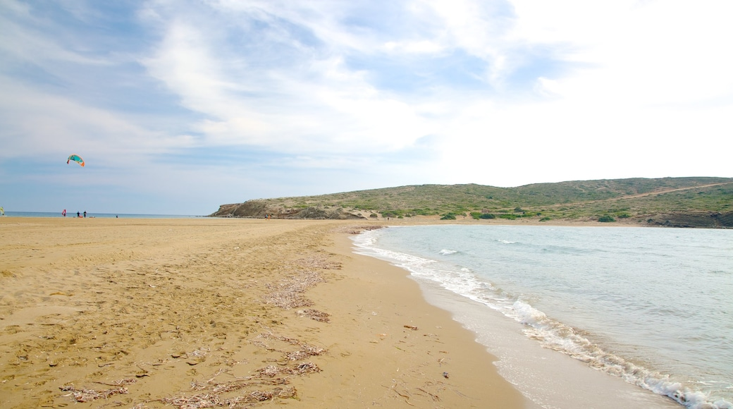 Prassonissi which includes a sandy beach and general coastal views