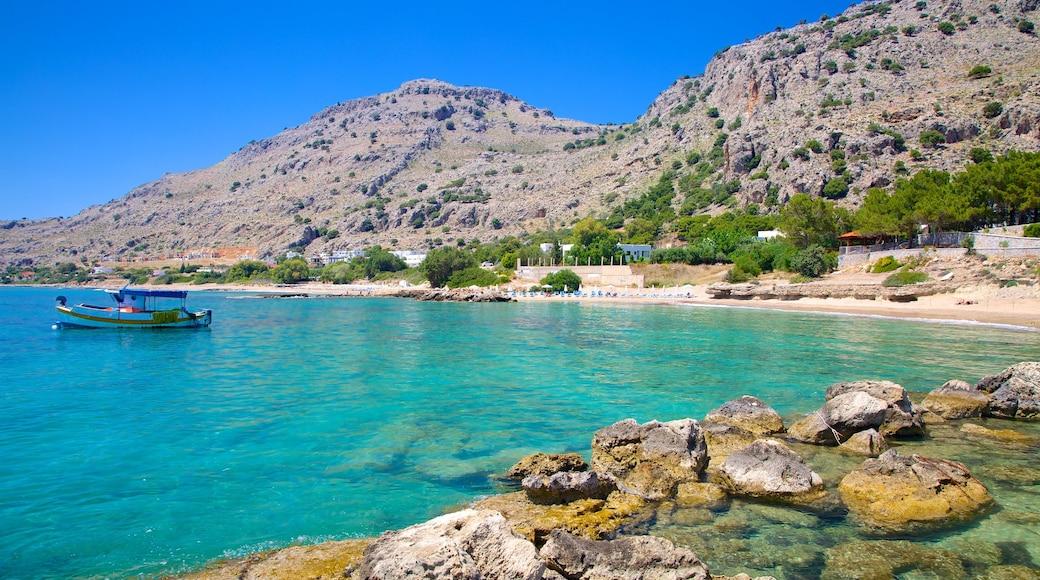 Pefkos Beach showing rugged coastline and general coastal views