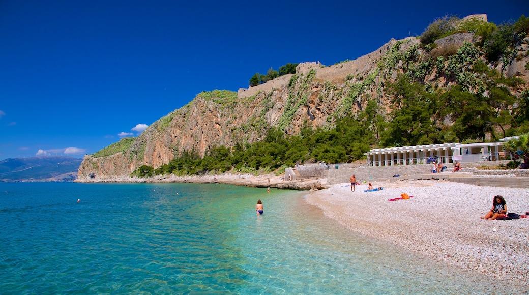 Arvanitia Beach showing a pebble beach