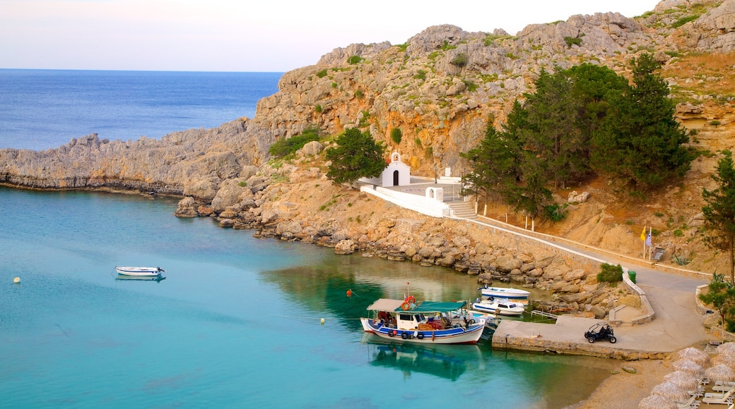 Rhodes Island which includes a bay or harbour