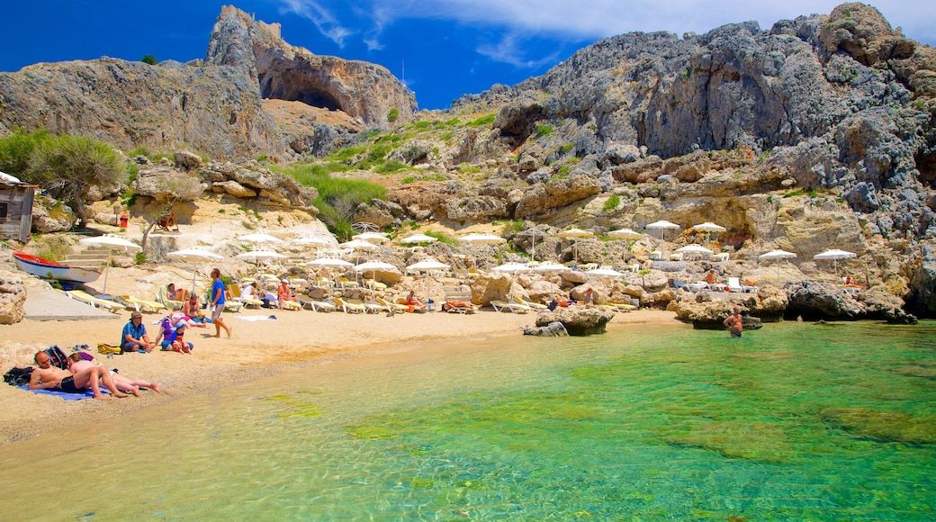 Rhodes Island showing a sandy beach