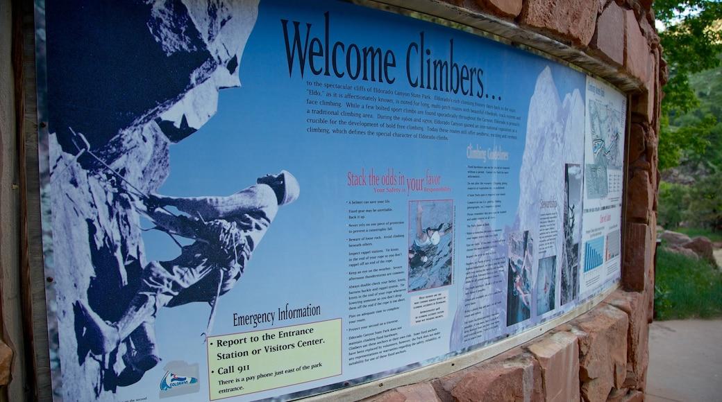 Eldorado Canyon State Park featuring signage