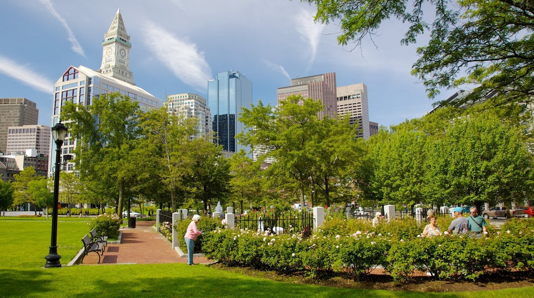 Massachusetts featuring a city, a skyscraper and a park