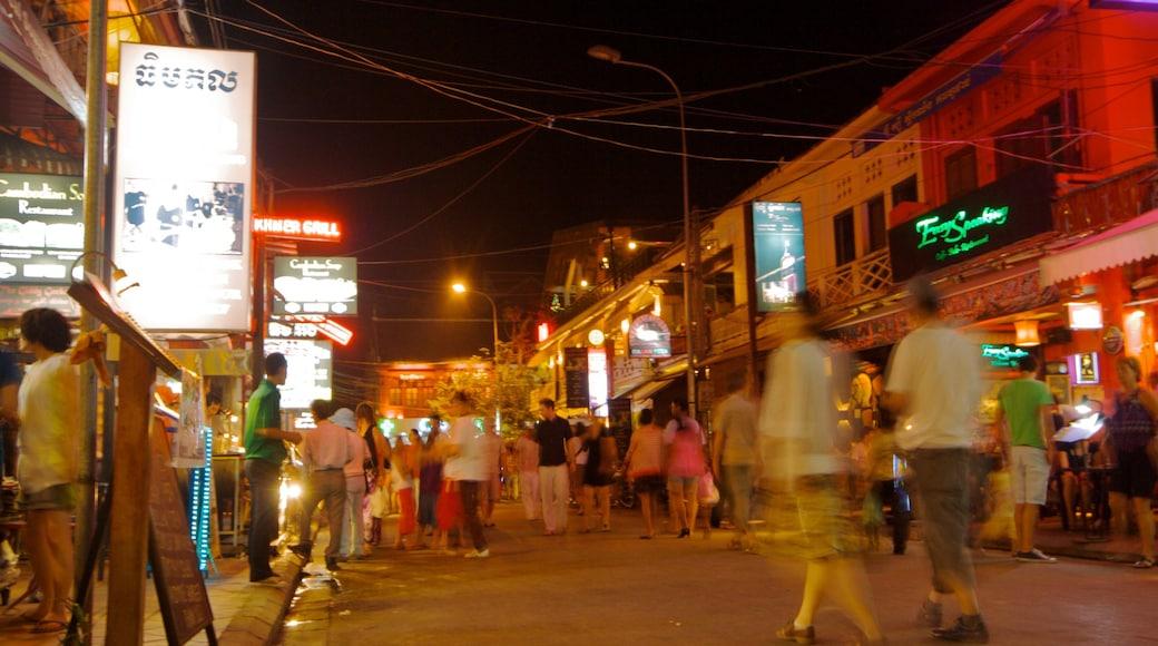 Cambodia featuring street scenes, night scenes and nightlife