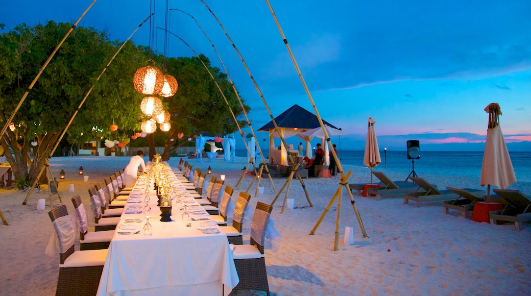 Gili Islands featuring landscape views, dining out and night scenes