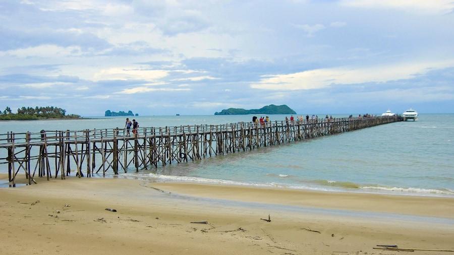 Chumphon showing a bridge and a beach