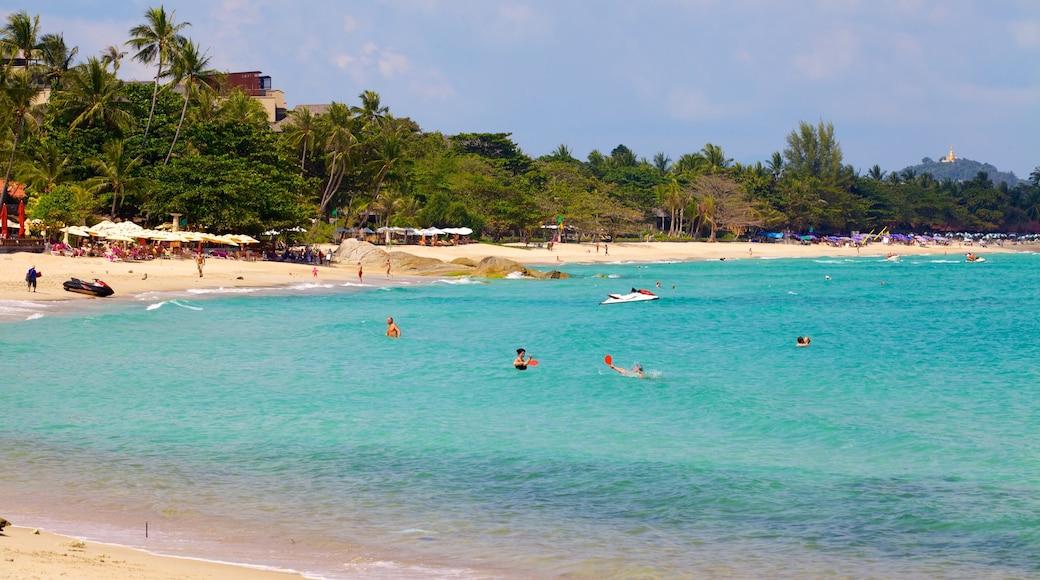 Chaweng Noi Beach toont een zandstrand en algemene kustgezichten