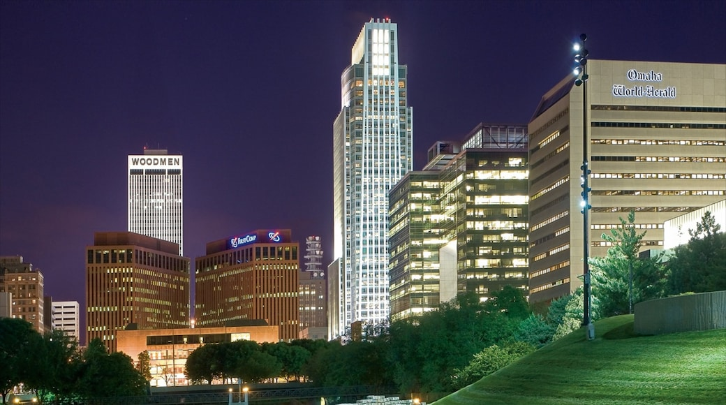 Downtown Omaha featuring a skyscraper, central business district and night scenes