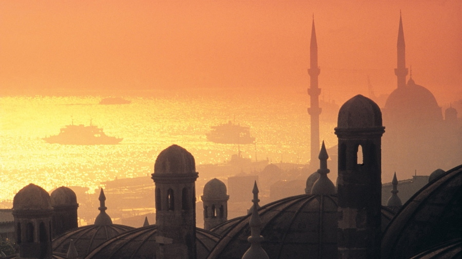 Istanbul showing a sunset, mist or fog and heritage architecture