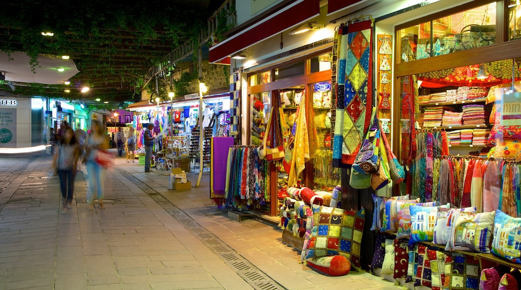 Bodrum which includes markets and night scenes