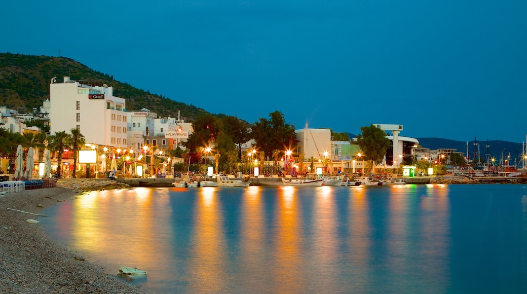 Bodrum Beach showing a pebble beach and night scenes