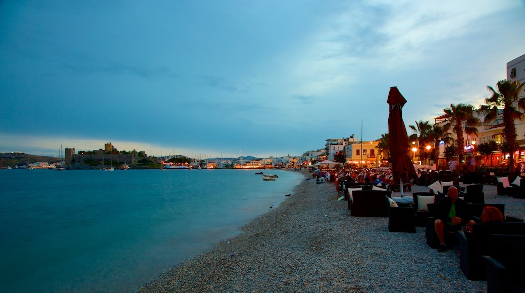 Bodrum Beach featuring night scenes and a pebble beach