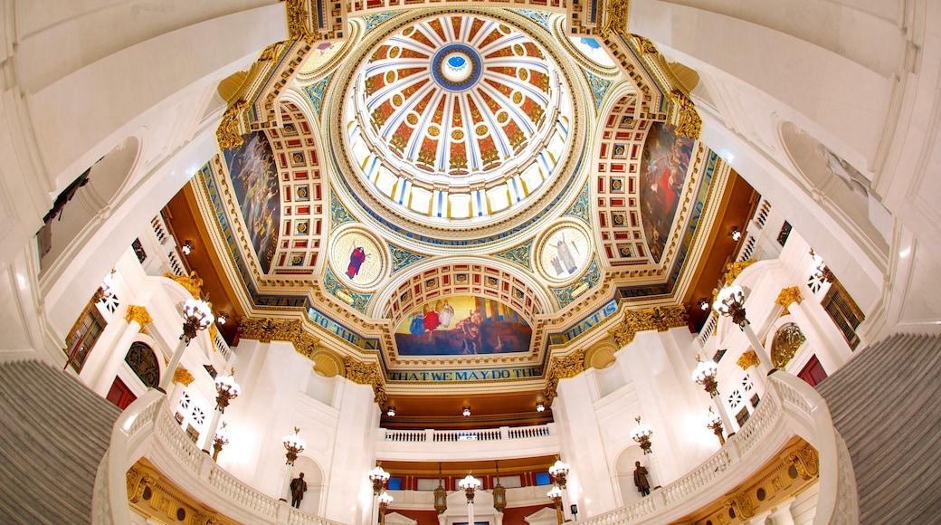 Capitólio Estadual da Pensilvânia que inclui vistas internas e arquitetura de patrimônio