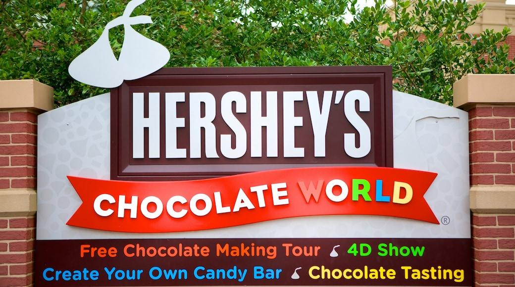 Hershey\'s Chocolate World mostrando sinalização