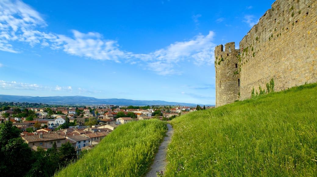 Carcassonne montrant patrimoine architectural et château