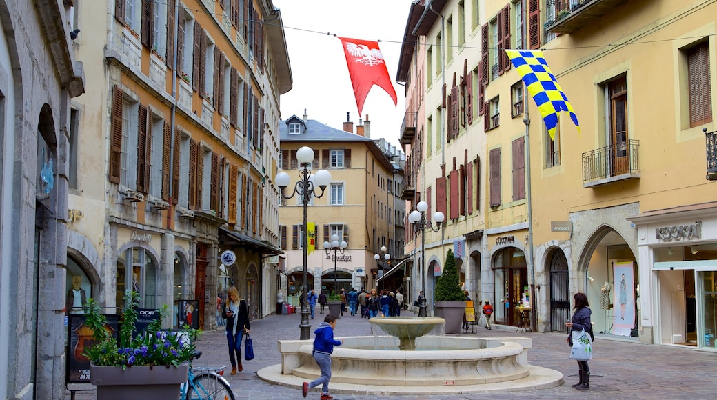 Chambery which includes heritage architecture, a fountain and street scenes