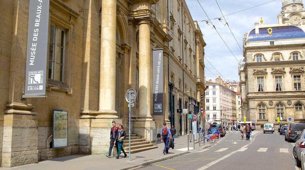 Musée des Beaux-Arts de Lyon mettant en vedette patrimoine architectural et scènes de rue
