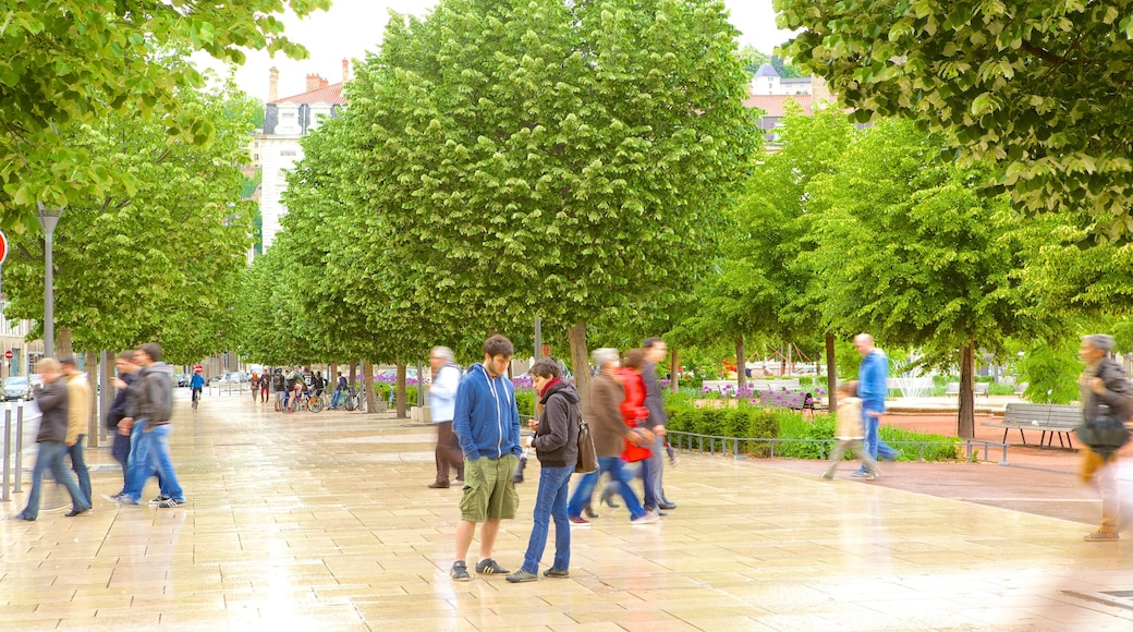 Lyon showing a square or plaza as well as a large group of people
