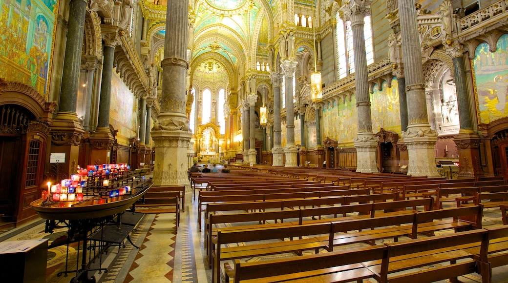 Notre Dame Basilica showing a church or cathedral, religious elements and heritage architecture