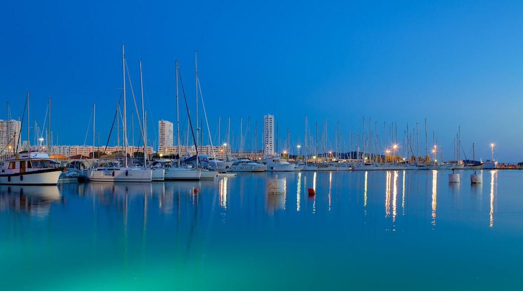 Port of Toulon which includes boating, sailing and general coastal views