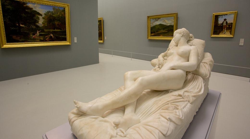 Musee Fabre das einen Statue oder Skulptur, Innenansichten und Kunst