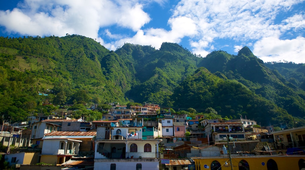 Santa Cruz La Laguna featuring mountains and a small town or village