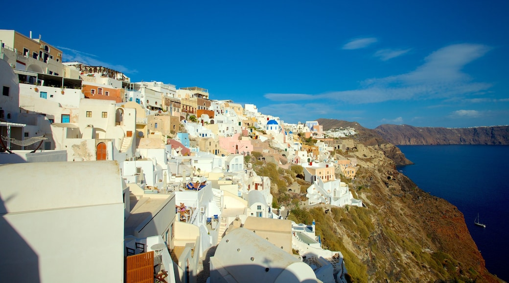 Oia which includes general coastal views and a coastal town