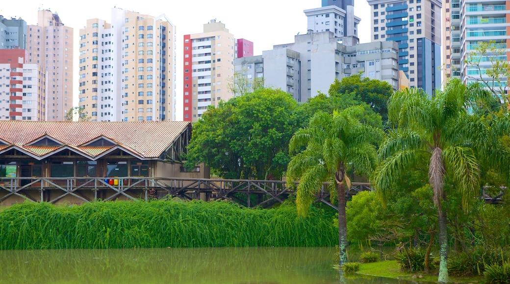 Parque Botânico de Curitiba que inclui um lago ou charco e uma cidade