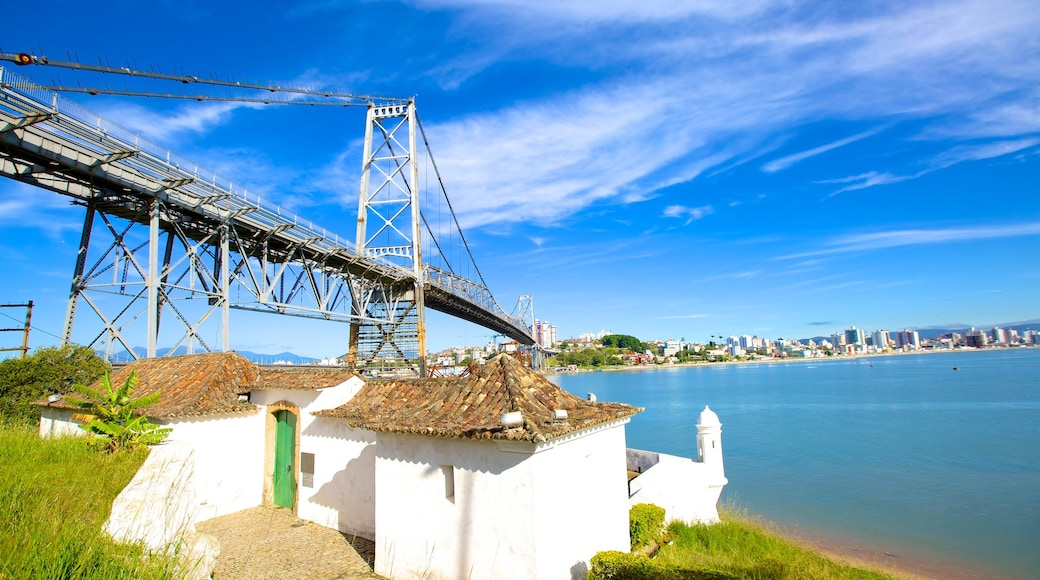 Hercilio Luz Bridge which includes general coastal views and a bridge