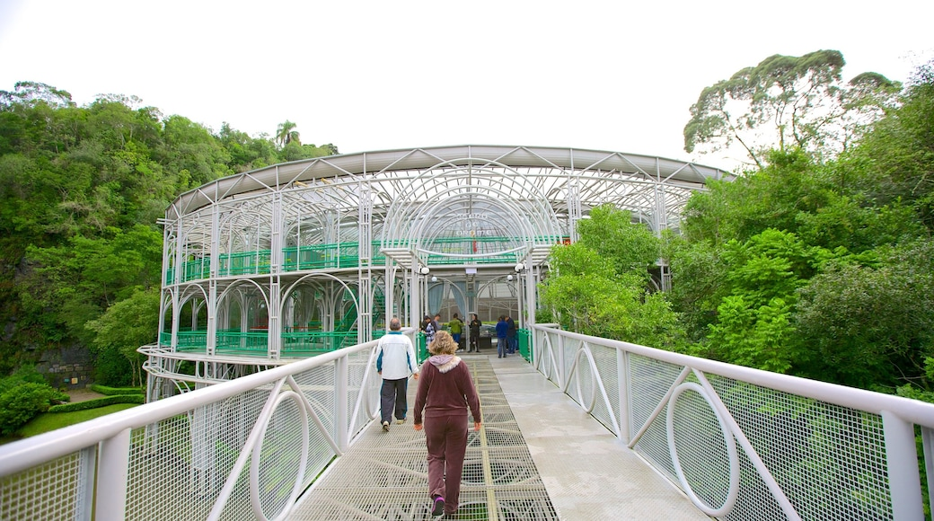 Ópera de Arame que inclui arquitetura moderna e uma ponte assim como um pequeno grupo de pessoas