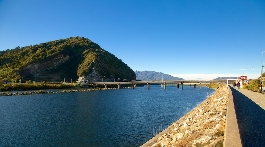 Greymouth which includes a river or creek and mountains