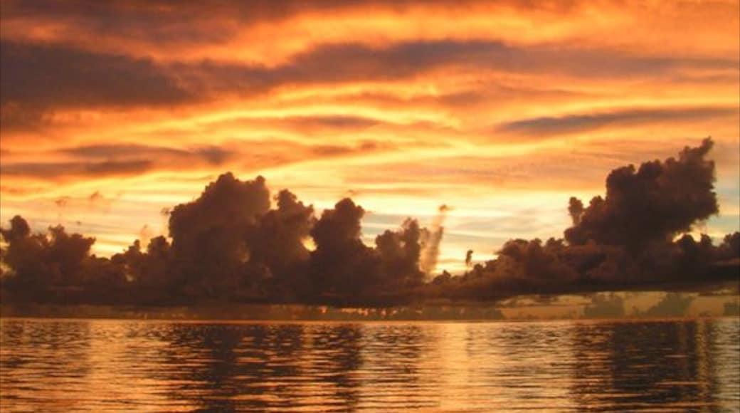 사이판 을 보여주는 일몰, 일반 해안 전경 과 해안 마을