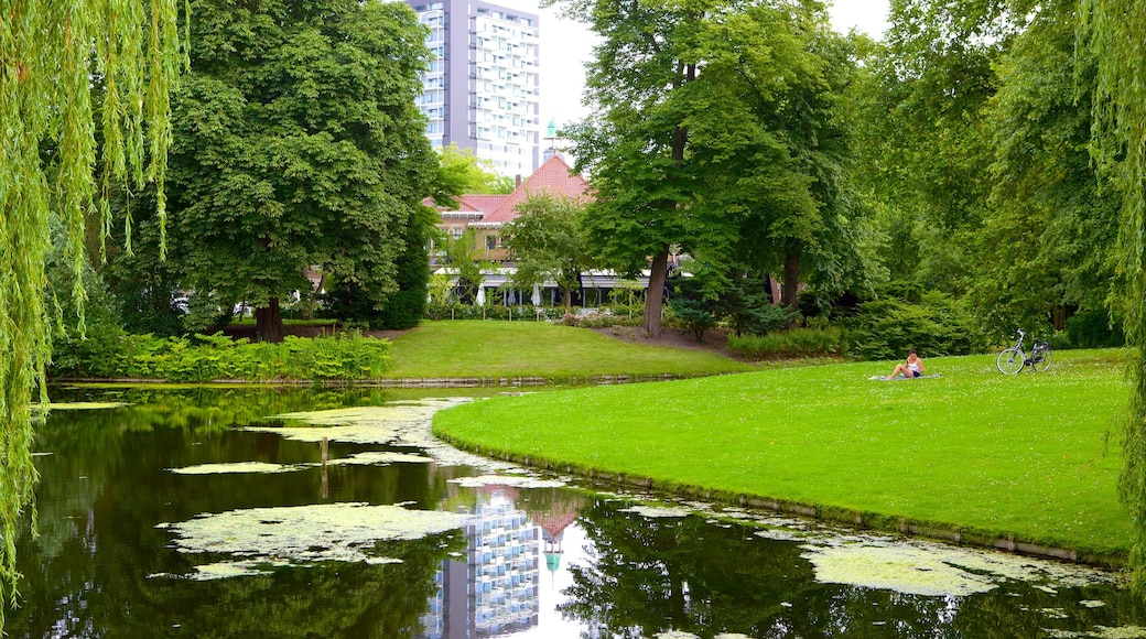 Euromast featuring landscape views, a lake or waterhole and a park