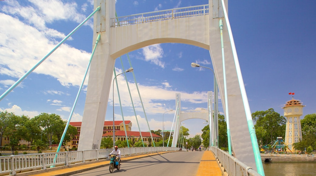 Phan Thiet which includes motorbike riding and a bridge as well as an individual male