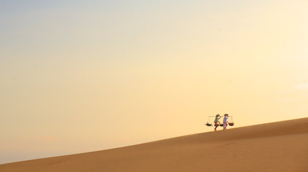 Mui Ne Sand Dunes featuring landscape views and desert views as well as a small group of people