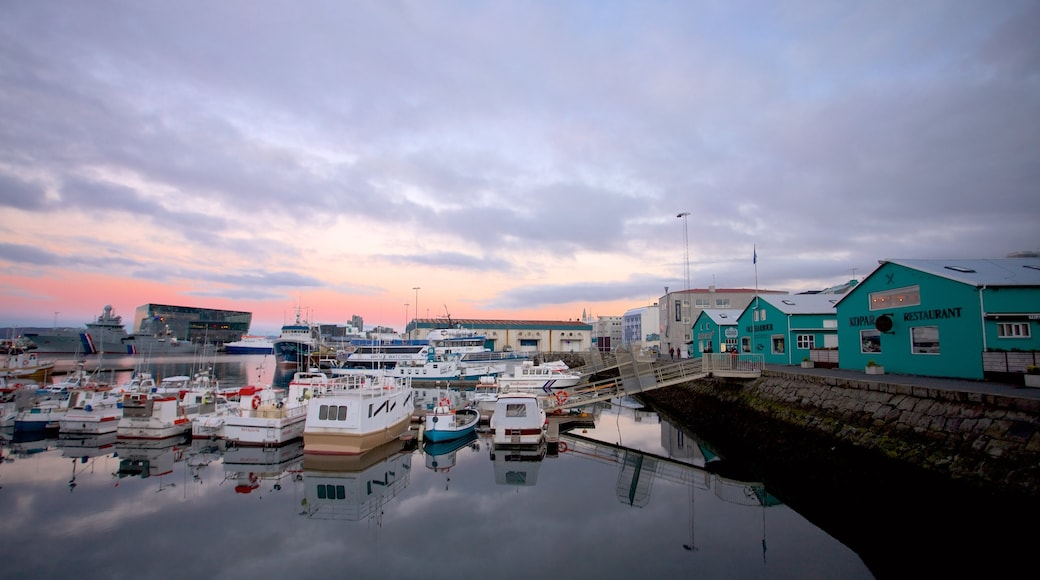 Reykjavik Harbour which includes boating, a bay or harbour and general coastal views