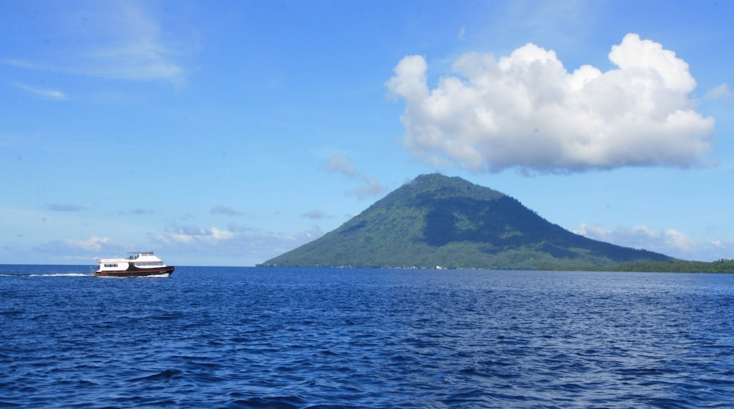 Manado which includes mountains, boating and general coastal views